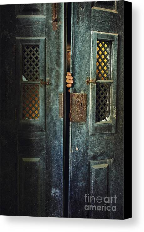 Adult Canvas Print featuring the photograph Door Peeking by Carlos Caetano