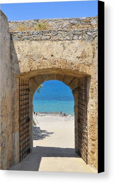 Serenity Canvas Print featuring the photograph Door To Joy And Serenity - Beautiful Blue Water Is Waiting by Matthias Hauser