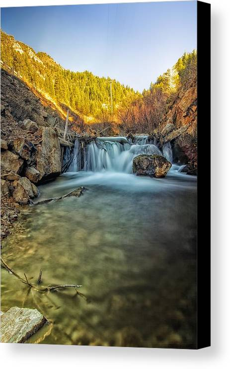 Waterfall Canvas Print featuring the photograph Down The Gorge by Mitch Johanson