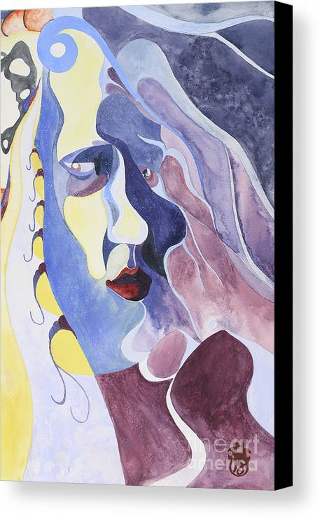 Portrait Canvas Print featuring the painting Dreamface by Aaron Joslin