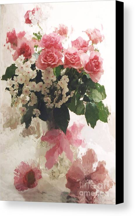 Impressionistic Watercolor Roses In Vintage Antique Vase Pink And