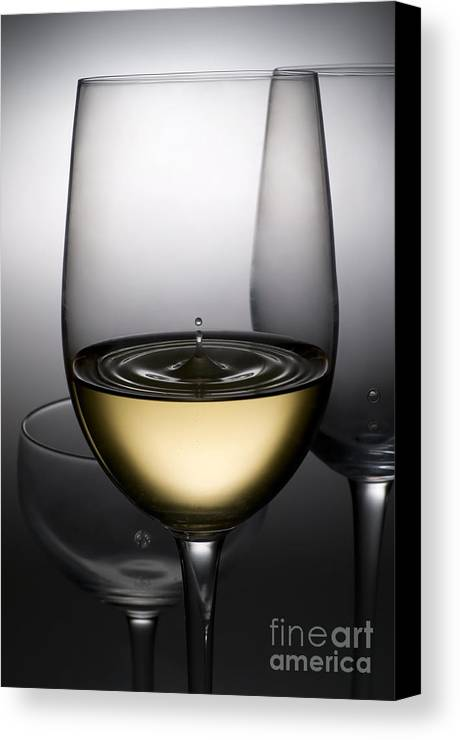 Abstract Canvas Print featuring the photograph Drops Of Wine In Wine Glasses by Setsiri Silapasuwanchai