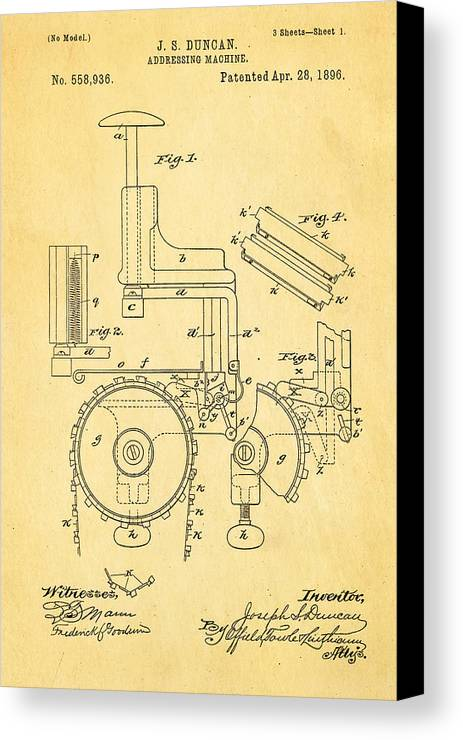 Office Canvas Print featuring the photograph Duncan Addressing Machine Patent Art 1896 by Ian Monk