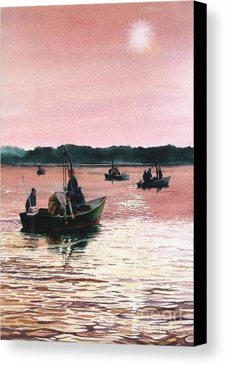 Sunrise Canvas Print featuring the painting Early Morning Scallopers by Karol Wyckoff