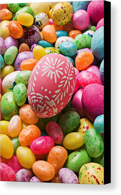 Easter Canvas Print featuring the photograph Easter Egg And Jellybeans by Garry Gay