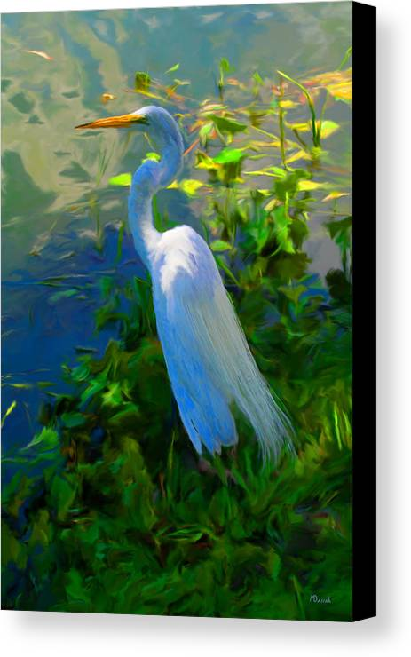 Birds Canvas Print featuring the digital art Egret In Blue by Mike Darrah