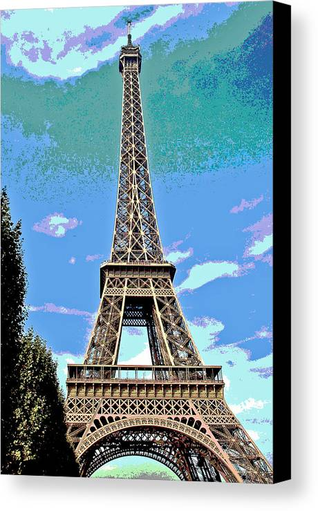 Eiffel Tower Canvas Print featuring the photograph Eiffel Tower Posterized by Barbara McDevitt