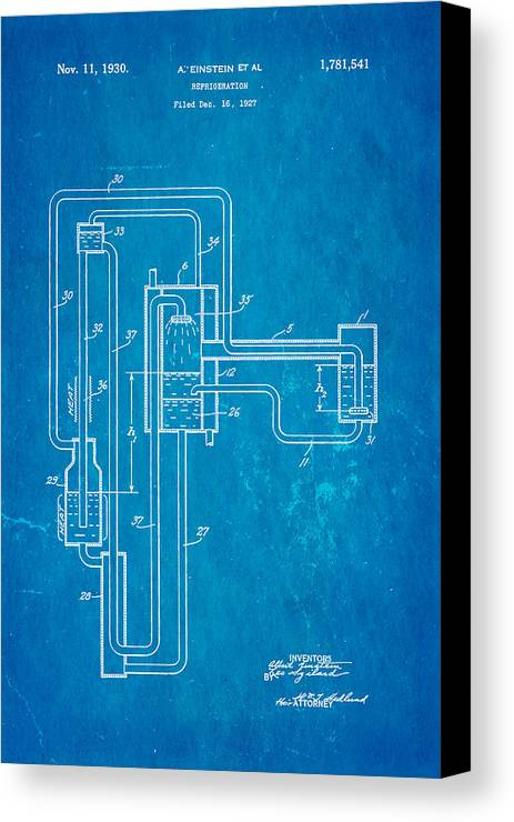 Einstein refrigerator patent art 1930 blueprint canvas print electricity canvas print featuring the photograph einstein refrigerator patent art 1930 blueprint by ian monk malvernweather Images