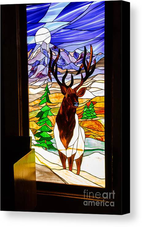 Stanied Glass Window Canvas Print featuring the photograph Elk Stained Glass Window by Robert Bales