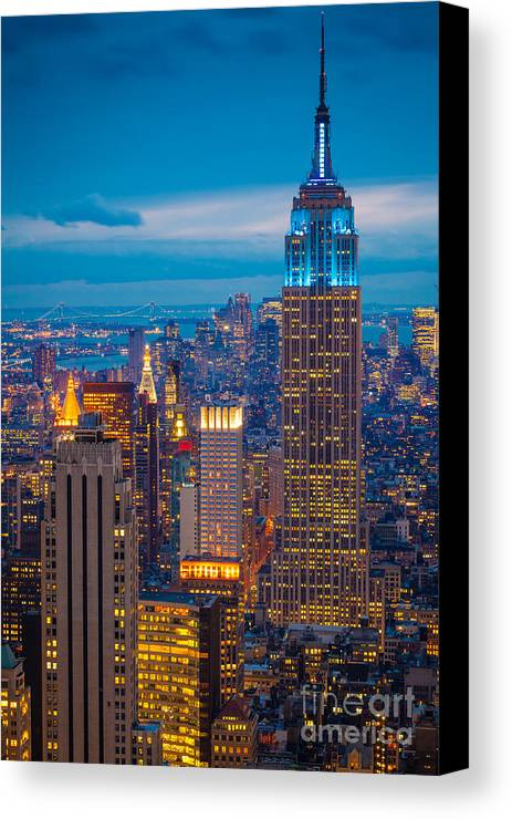 America Canvas Print featuring the photograph Empire State Blue Night by Inge Johnsson