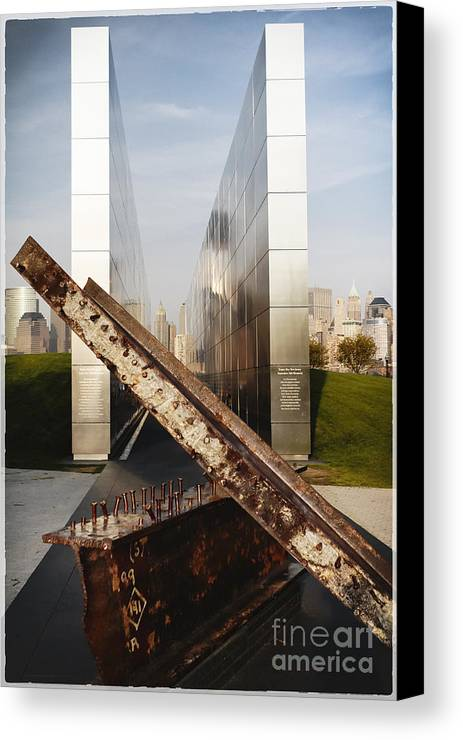 Empty Sky Canvas Print featuring the photograph Empty Sky New Jersey September 11th Memorial by George Oze