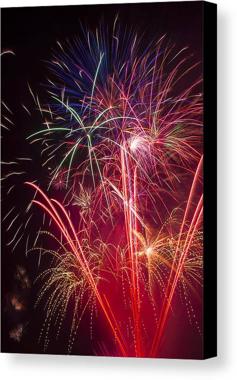 Awesome Fireworks Lights Up The Darkness Canvas Print featuring the photograph Endless Fireworks by Garry Gay