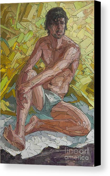 Man Canvas Print featuring the painting Etude 22 by Sergey Sovkov