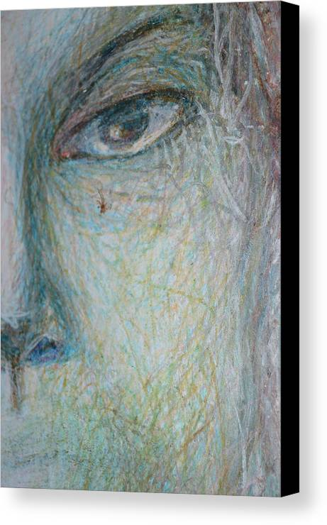Abstract Modern Raw Folk Outsider Face Portrait Figure Woman Right Canvas Print featuring the painting Faces - Right Close by Nancy Mauerman