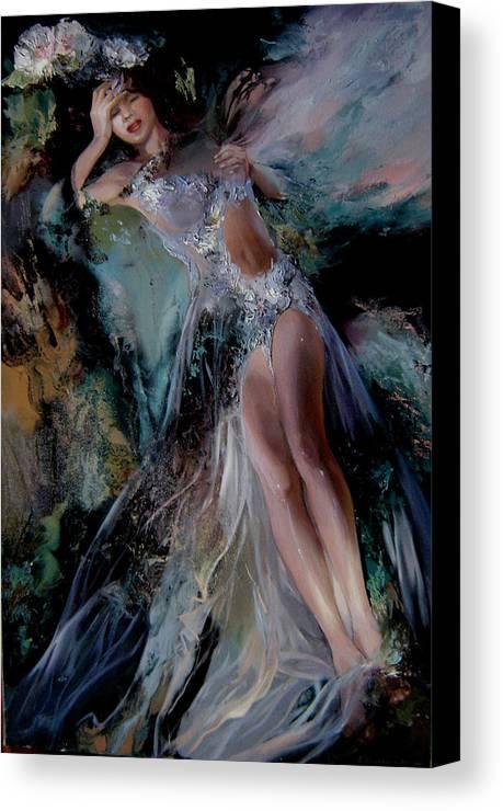 Fairy Canvas Print featuring the painting Fairy by Nelya Shenklyarska