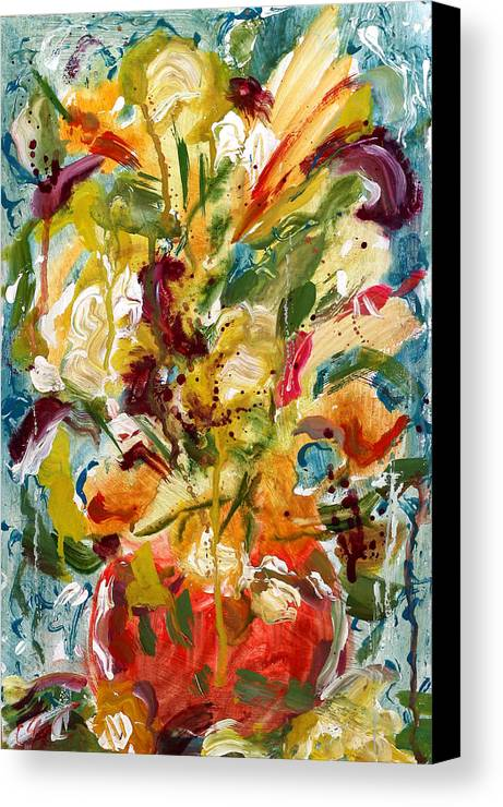Abstract Vase Flower Print Canvas Print featuring the painting Fantasy Floral 1 by Carole Goldman