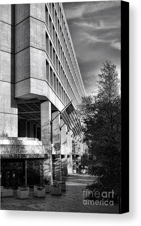 Fbi Canvas Print featuring the photograph Fbi Building Modern Fortress by Olivier Le Queinec
