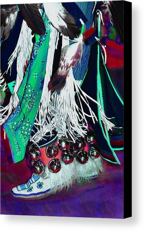 Moccasins Canvas Print featuring the photograph Feathers Fringe And Bells by Kae Cheatham