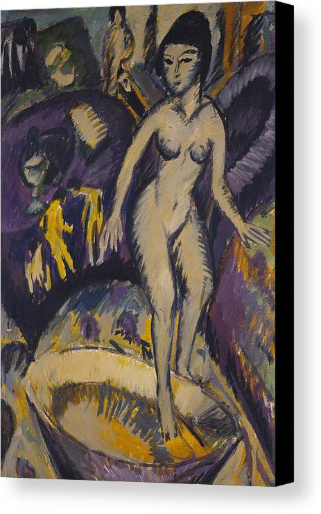 Kirchner Canvas Print featuring the painting Female Nude With Hot Tub by Ernst Ludwig Kirchner