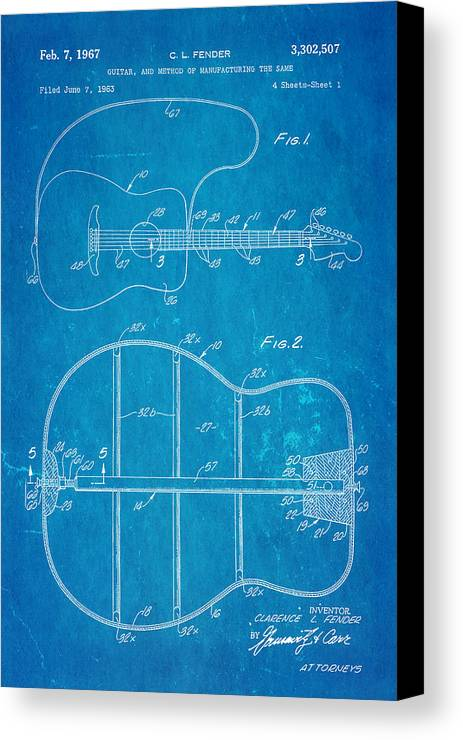 Fender guitar manufacture patent art 1967 blueprint canvas print famous canvas print featuring the photograph fender guitar manufacture patent art 1967 blueprint by ian monk malvernweather Images