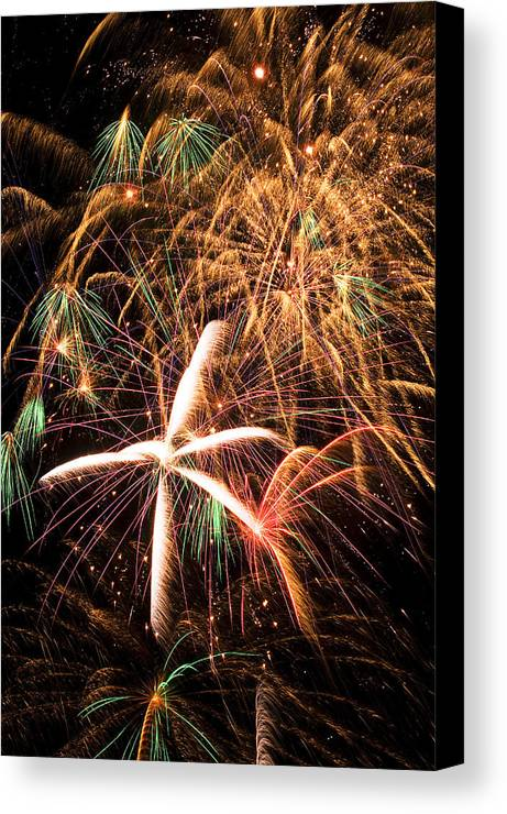 Fireworks Lights Up The Darkness Canvas Print featuring the photograph Fireworks Exploding Everywhere by Garry Gay