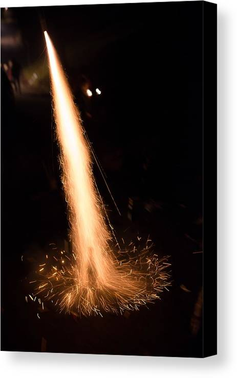 New Year Canvas Print featuring the photograph Fireworks Rocket Launch by Frank Gaertner