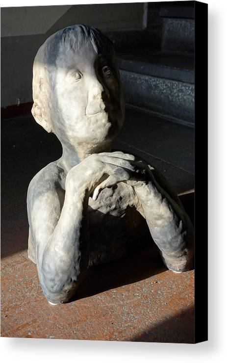 Potters Clay Canvas Print featuring the sculpture Flabbergasted Young Man by Reiner Poser