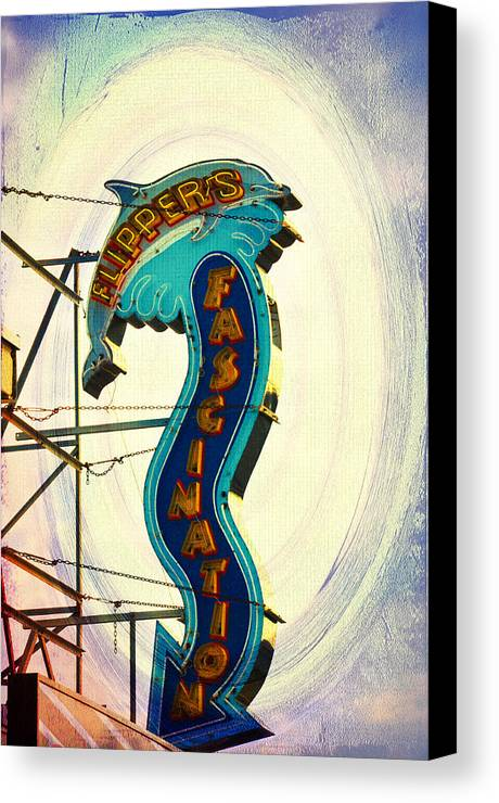 Flippers Facination - Wildwood Boardwalk Canvas Print featuring the photograph Flippers Facination - Wildwood Boardwalk by Bill Cannon