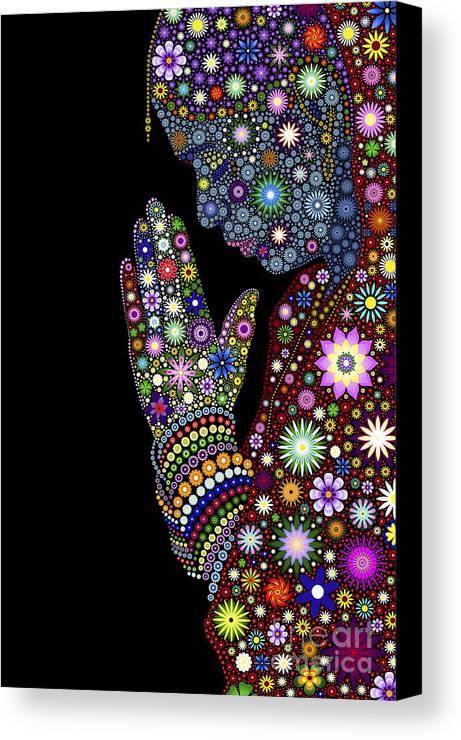 Flower Canvas Print featuring the digital art Flower Prayer Girl by Tim Gainey