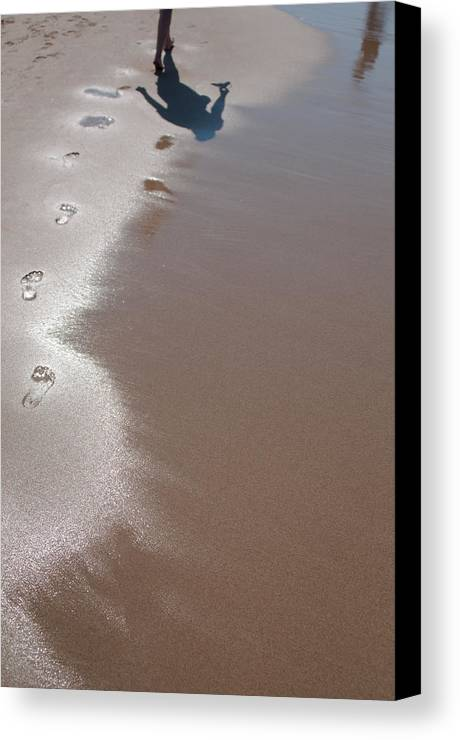 Footstep Canvas Print featuring the photograph Footsteps On The Beach by Frank Gaertner