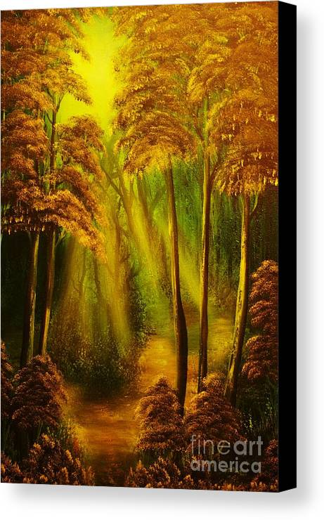 Sunbeam Canvas Print featuring the painting Forest Sunrays- Original Sold -buy Giclee Print Nr 38 Of Limited Edition Of 40 Prints by Eddie Michael Beck