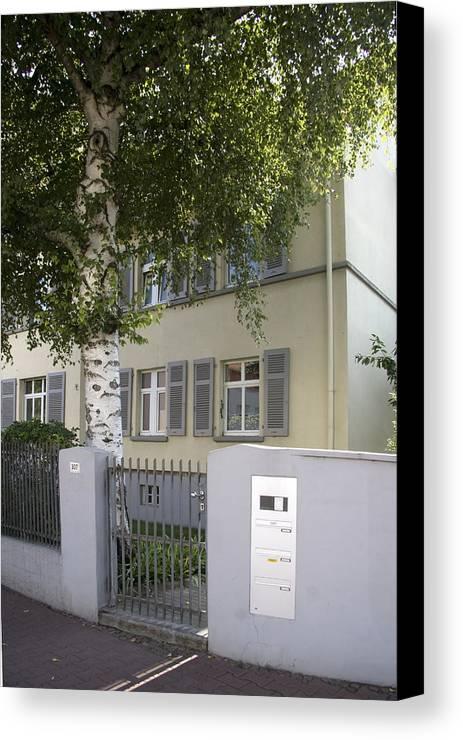 Former Home Of Anne Frank Canvas Print featuring the photograph former home of Anne Frank Marbachweg Frankfurt am Main Germany by Ronald Jansen