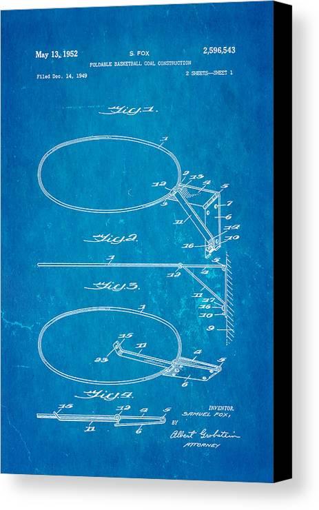 Basket Ball Canvas Print featuring the photograph Fox Foldable Basketball Goal Patent Art 1952 Blueprint by Ian Monk