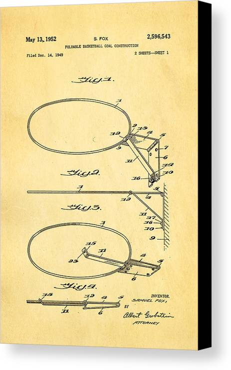 Basket Ball Canvas Print featuring the photograph Fox Foldable Basketball Goal Patent Art 1952 by Ian Monk