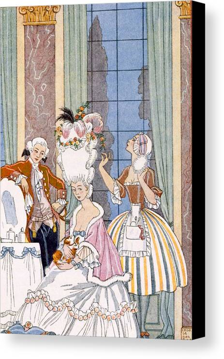 Stencil Canvas Print featuring the painting France In The 18th Century by Georges Barbier