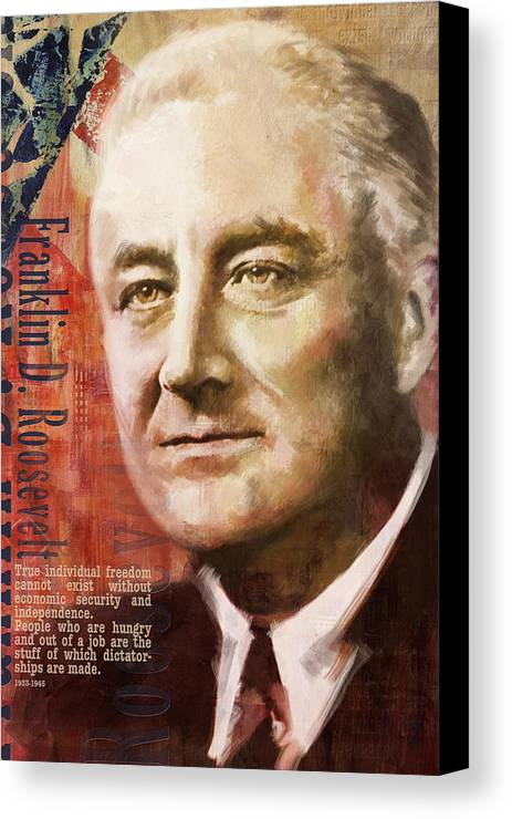 Franklin D. Roosevelt Canvas Print featuring the painting Franklin D. Roosevelt by Corporate Art Task Force