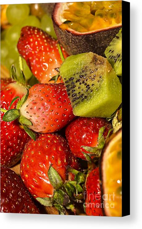 Kiwi Fruit Canvas Print featuring the photograph Fresh Fruit Salad by Tomi Junger