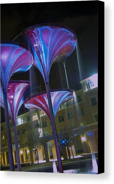 Tcu Canvas Print featuring the photograph Frog Fountain In Detail by Greg Kopriva
