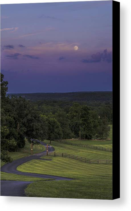 Full Moon Canvas Print featuring the photograph Full Moon Over The Ozarks by Kevin Whitworth