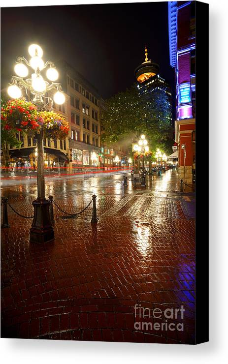 Gastown in the rain canvas print canvas art by terry elniski gastown canvas print featuring the photograph gastown in the rain by terry elniski reheart Images