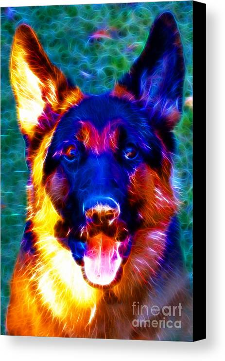 Animal Canvas Print featuring the photograph German Shepard - Electric by Wingsdomain Art and Photography