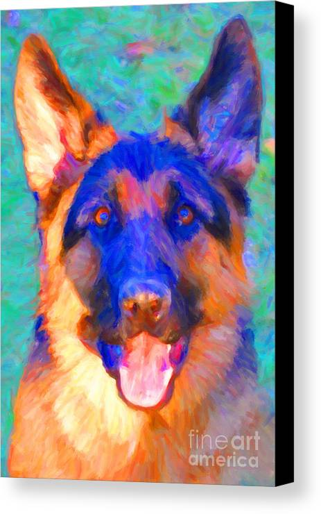 Animal Canvas Print featuring the photograph German Shepard - Painterly by Wingsdomain Art and Photography