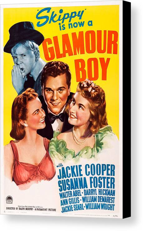1940s Movies Canvas Print featuring the photograph Glamour Boy, Top Jackie Cooper, Bottom by Everett