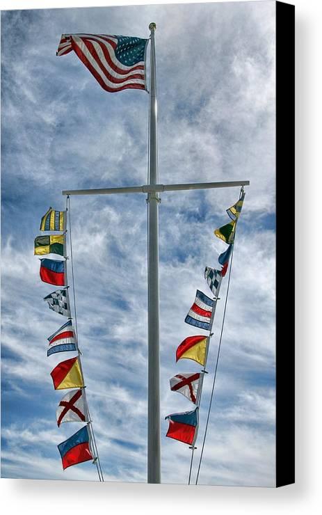 Mast Canvas Print featuring the photograph Glen Cove American Flag by Bob Slitzan