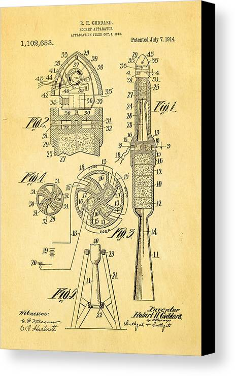 Famous Canvas Print featuring the photograph Goddard Rocket Apparatus Patent Art 1914 by Ian Monk
