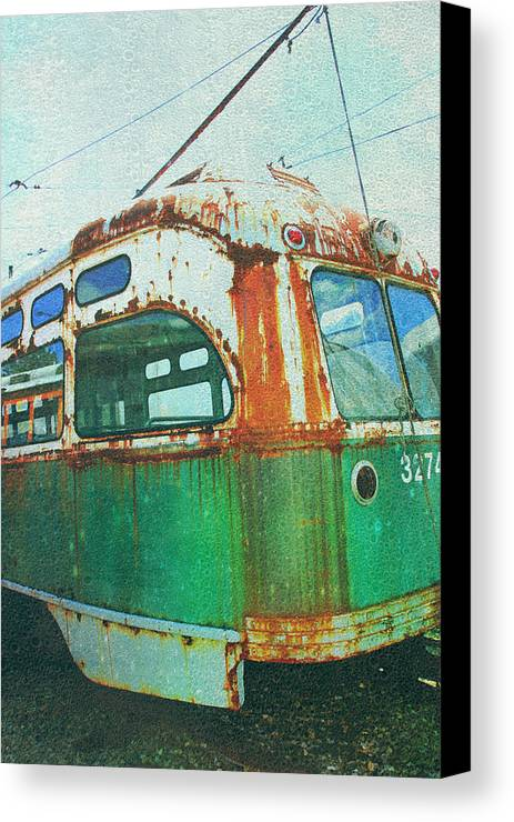 Green Trolley Canvas Print featuring the photograph Going Green by Sheryl Bergman