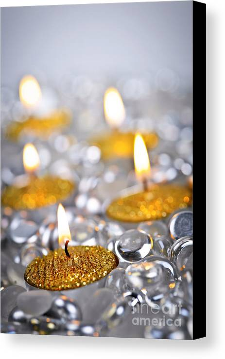 Candles Canvas Print featuring the photograph Gold Christmas Candles by Elena Elisseeva