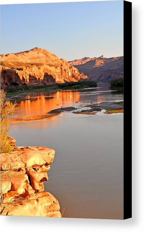 Sunset Canvas Print featuring the photograph Golden Sunset On The Colorado by Marty Koch