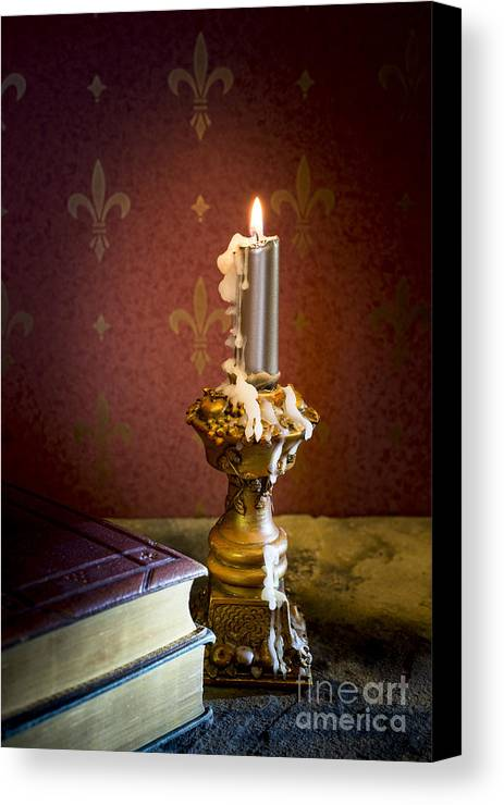 19 Century Canvas Print featuring the photograph Gothic Scene With Candle And Gilt Edged Books by Wolf Kettler