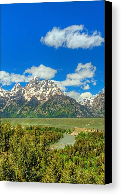 Tetons Canvas Print featuring the photograph Grand Tetons Snake River Overlook by Cynthia Kidwell